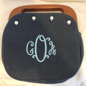 Vintage Navy handbag with Wooden Handle